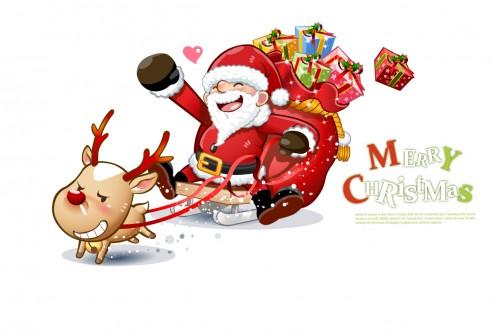 cute_snowman_and_santa_claus_03_christmas_vector_3