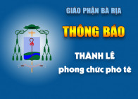 THÔNG BÁO: Thánh lễ phong chức phó tế