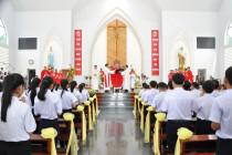 Gx. Hòa Sơn: Đức Cha Emmanuel ban Bí tích Thêm sức cho 86 em thiếu nhi