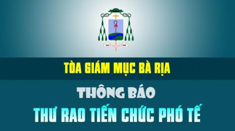 TGM. Bà Rịa: THƯ RAO TIẾN CHỨC PHÓ TẾ - 2020