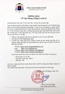 Tổng Giáo phận Hà Nội: Thông báo về việc phòng chống Covid-19