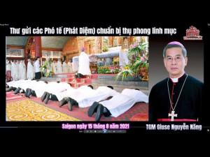 Thư gửi các Phó tế chuẩn bị thụ phong linh mục