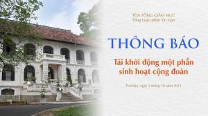 Tòa Tổng Giám mục Sài Gòn: Tái khởi động một phần sinh hoạt cộng đoàn (ngày 1-10-2021)